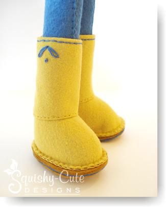 felt doll pattern, rag doll, felt boots