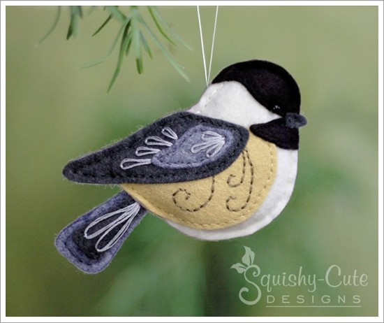 chickadee sewing pattern, chickadee ornament, felt bird