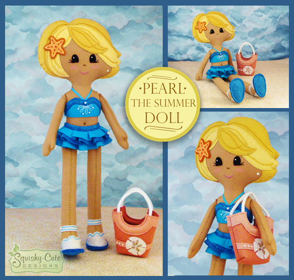 doll pattern, summer doll, felt doll, felt pattern, plushie, pdf pattern, rag doll, cloth doll