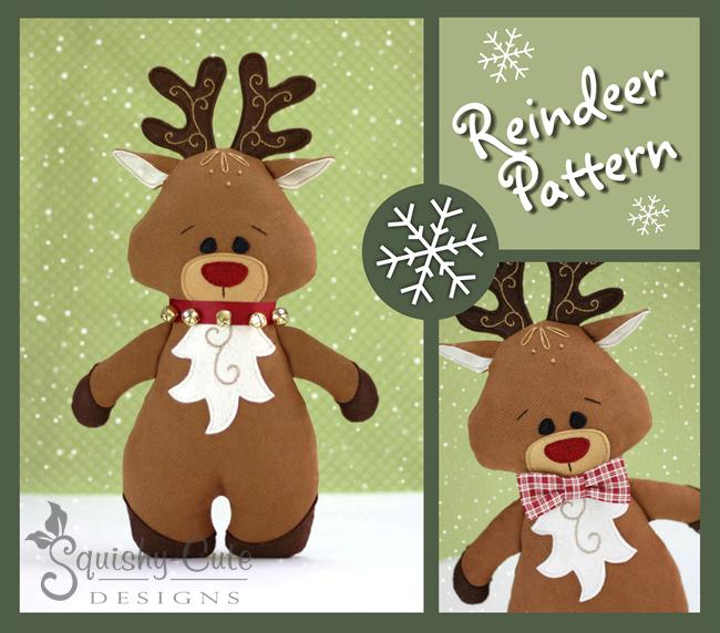 reindeer pattern, sewing pattern, reindeer plushie, Christmas sewing pattern, Reindeer stuffed animal, Rudolph
