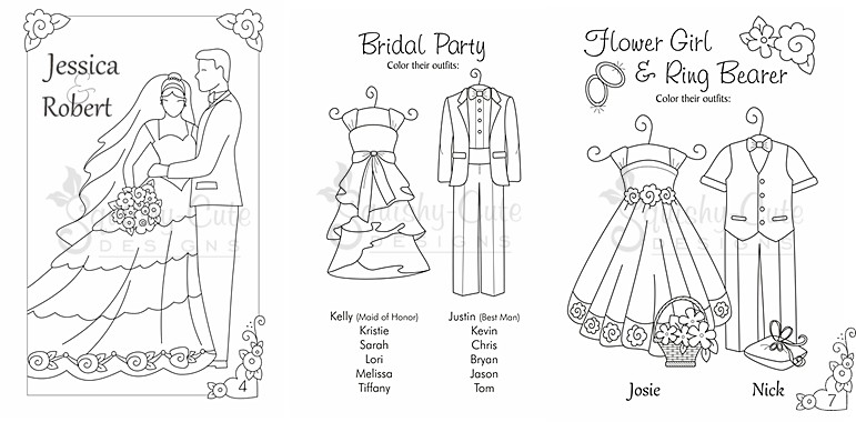 Printable Wedding Activity Pages For Kids Wedding Coloring Book