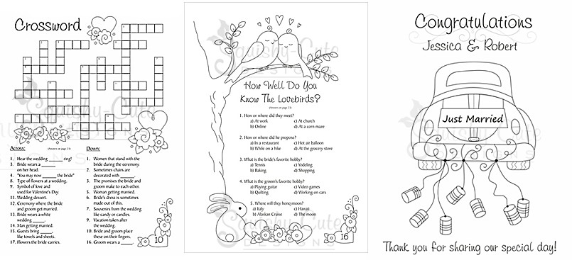 Wedding Activity Pages For Kids Goodie Bags Coloring
