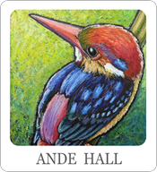 ande hall, bird paintings, oil pastel birds