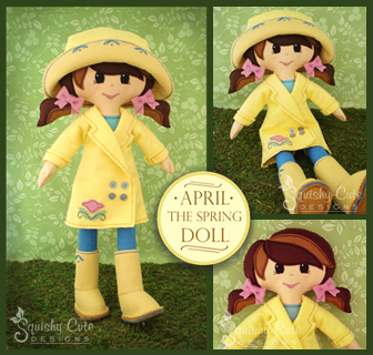 doll sewing pattern, spring doll, felt doll pattern
