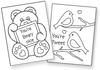 printable Valentine cards for kids, free printable valentine cards, valentine coloring cards, free coloring cards, valentine exchange cards, classroom valentine cards, valentine's day exchange cards, homemade valentine cards, mini valentine cards, teddy bear cards, love bird cards