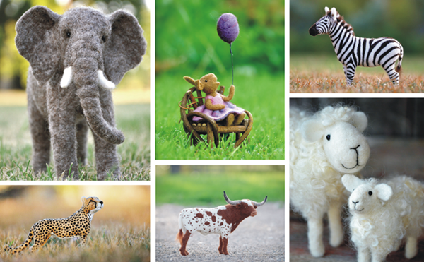 needle felted sculptures, needlework, felted art