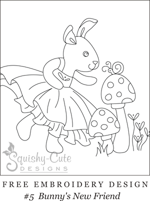 free embroidery design, printable embroidery pattern, bunny embroidery