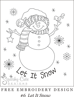 free embroidery design, printable embroidery pattern, snowman embroidery