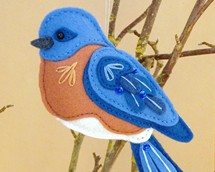 bluebird pattern, felt bluebird, bluebird ornament, sewing pattern, backyard birds, bird ornament