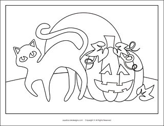 Free Halloween Coloring Page Sheets Pumpkin Pages Black Cat