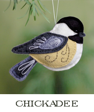 chickadee sewing pattern, felt chickadee ornament, bird sewing pattern