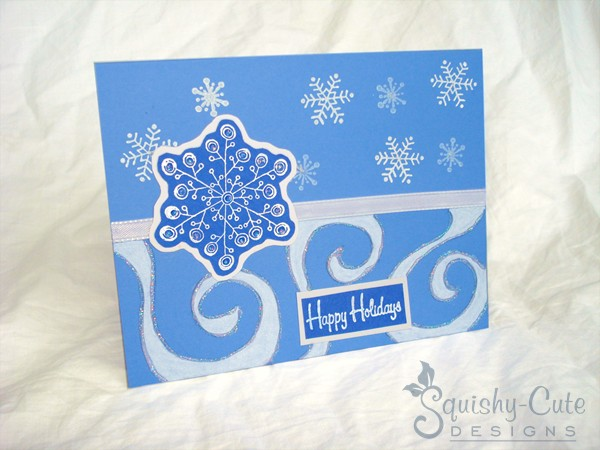 Homemade Christmas Card Ideas | Swirly Snowflake | Squishy-Cute