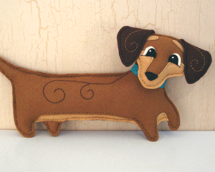 dog sewing pattern, dachshund plushie, dog breed sewing pattern, dog plushie pattern, embroidery pattern, soft toy pattern, felt dachshund, stuffed animal pattern