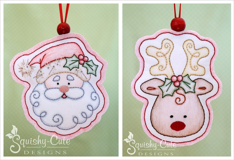 embroidery patterns, embroidery design, Santa Claus, Rudolph, reindeer, crayon tinted, handmade ornaments, embroidered ornaments