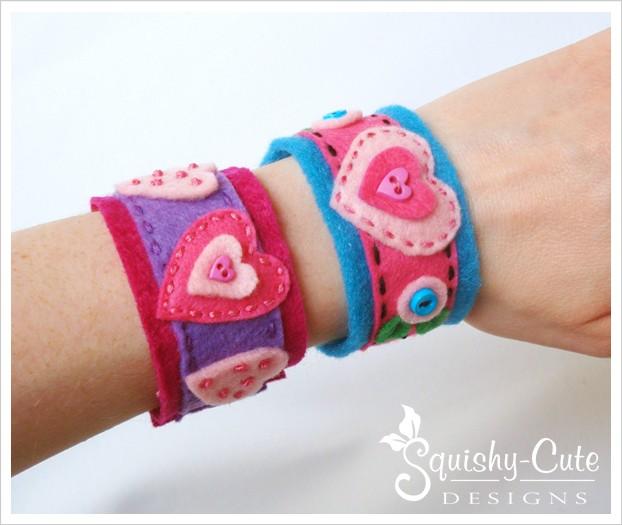 homemade valentine ideas, felt hearts, felt bracelet, free pattern, valentine crafts, kid craft ideas