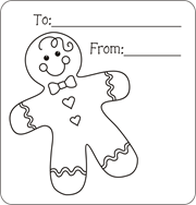 Gingerbread Boy Gift Tag Girl Men Christmas Coloring