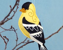 goldfinch pattern, backyard bird, felt bird, goldfinch sewing pattern, yellow bird, Christmas ornament, bird ornament