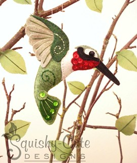 hummingbird sewing pattern, felt hummingbird, bird ornament
