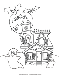 Haunted House Coloring Pages Free Halloween Sheets