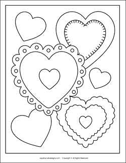 Stuffed animal sewing patterns squishy cute for Free valentine coloring pages for kids