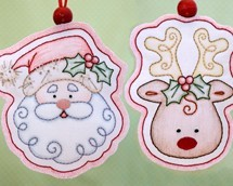 embroidery patterns, embroidery design, Santa Claus, Rudolph, reindeer, handmade ornaments, embroidered ornaments