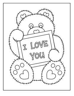 Free Valentines Coloring Pages Simple Stuffed Animal Sewing Patterns Squishycute Designsvalentine .