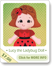 felt doll pattern, ladybug doll, plush doll, rag doll pattern