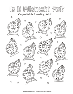 matching games for kids, new years activities for kids, new years party games, new years coloring pages, new years eve coloring pages
