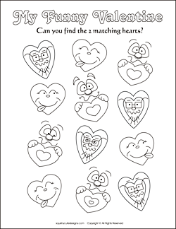 Matching Games For Kids, Valentine Coloring Pages, Valentine Coloring  Sheets, Valentine Activities For
