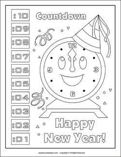 New Year's Coloring Pages & Puzzles | Squishy-Cute Designs