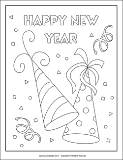 party hats coloring page new years eve coloring pagesnew years coloring sheets