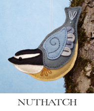 nuthatch, backyard birds, sewing pattern, felt nuthatch, bird ornament