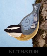 nuthatch, backyard birds, sewing pattern, felt nuthatch, bird ornament