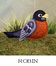 robin sewing pattern, felt bird ornament, american robin, felt robin, sewing tutorial, easy bird pattern