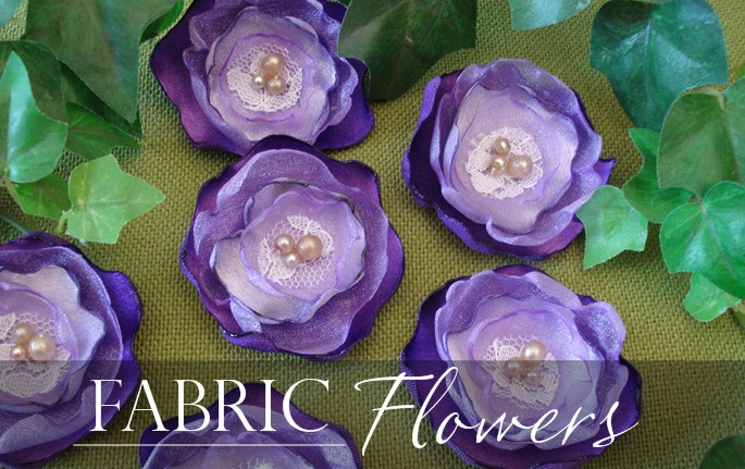 how to make fabric flowers, satin flowers, organza flowers