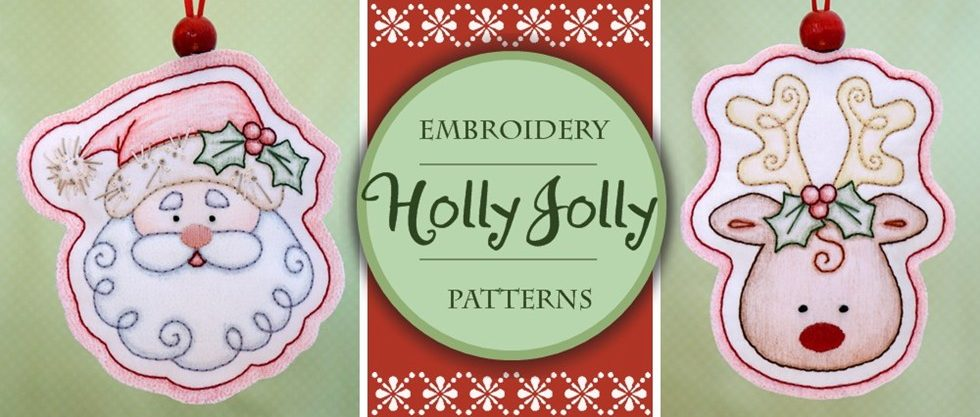 embroidery patterns, embroidery design, Santa Claus, Rudolph, handmade ornaments, embroidered ornaments