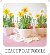 teacup crafts, paper daffodils, teacup ideas, Easter ideas, spring wedding ideas, spring birthday parties, spring baby showers, spring bridal shower, paper flower tutorial, Easter centerpieces, spring wedding centerpieces, Easter place settings