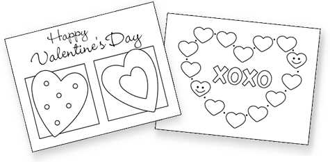 printable Valentine cards for kids, free printable valentine cards, valentine coloring cards, free coloring cards, valentine exchange cards, classroom valentine cards, valentine's day exchange cards, homemade valentine cards, mini valentine cards