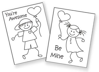 printable Valentine cards for kids, free printable valentine cards, valentine coloring cards, free coloring cards, valentine exchange cards, classroom valentine cards, valentine's day exchange cards, homemade valentine cards, mini valentine cards, stick people coloring