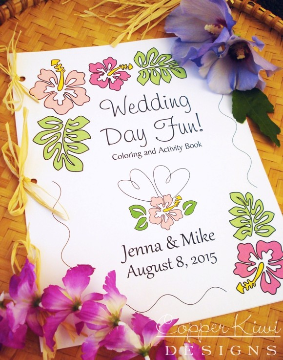 Wedding Coloring Book Pages Activity Tropical Beach