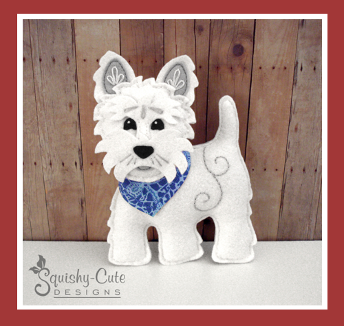 westie pattern, felt sewing pattern, felt dog, west highland terrier, felt westie, westie stuffed animal, plushie